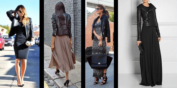 Fashion Leather Jacket Styles - Maxi Dress